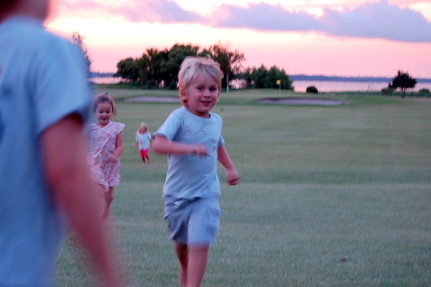 running on the golf coarse at dusk