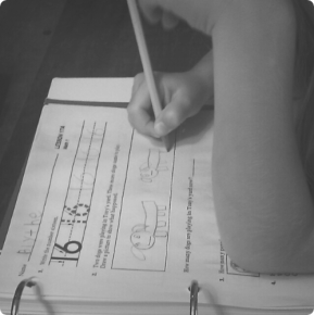 blythe finishing a math worksheet