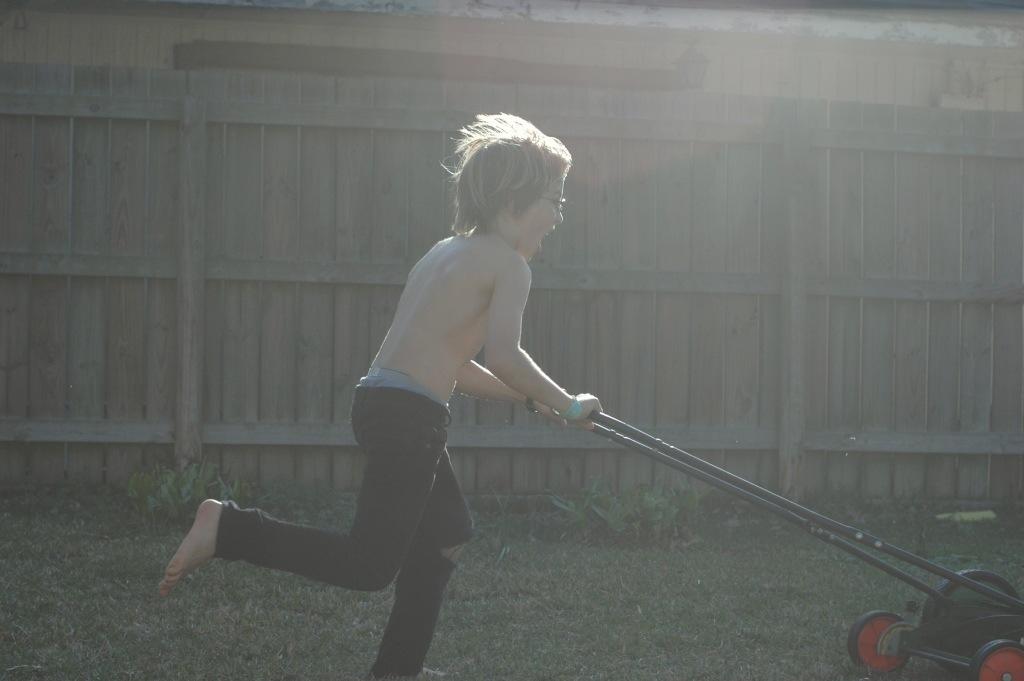 running the mower