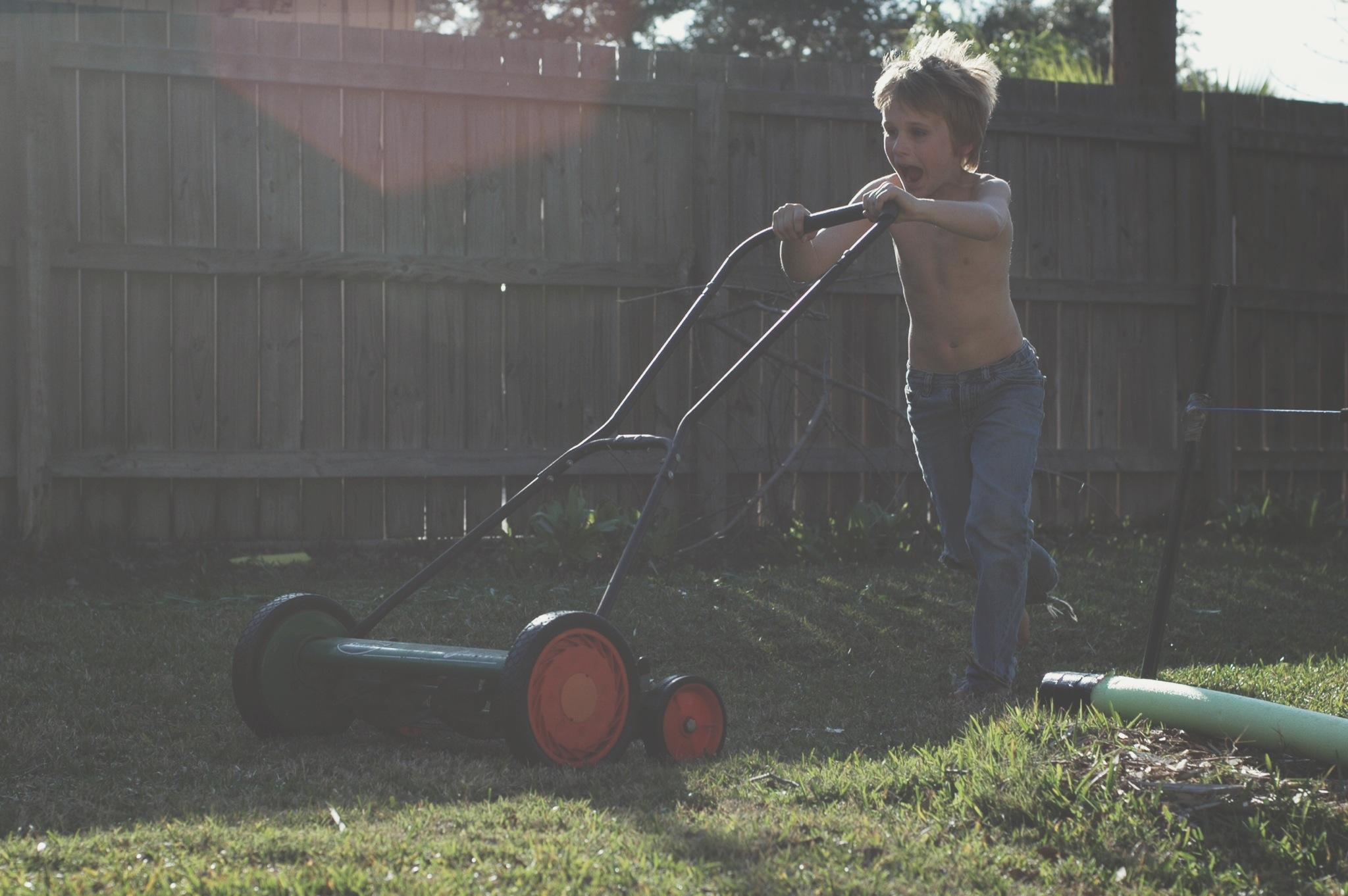 running the mower 2
